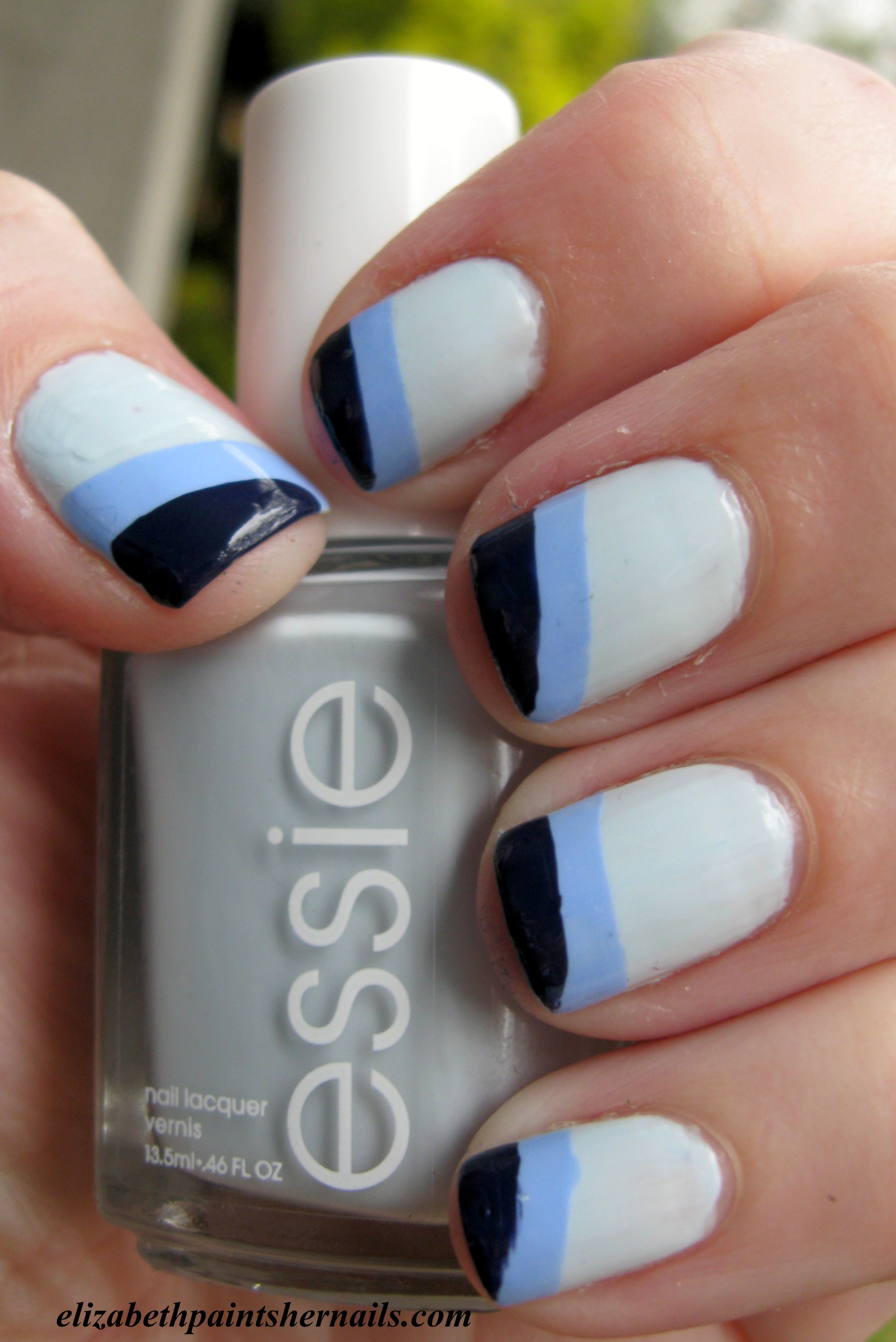 Basic Manicure Nail Care Routine: Essie's Funky French In Blue